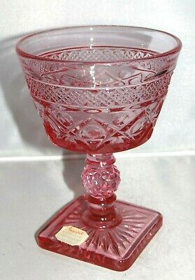 Imperial Glass Ohio CAPE COD PINK Cranberry Sherbet Champagne Pressed