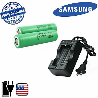 2x Samsung INR18650-25R 2500mAh 20A Rechargeable Battery & CHARGER & CASE