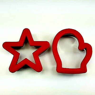 Set Of 2 Wilton Comfort Grip Christmas Cookie Cutters Star Mitten