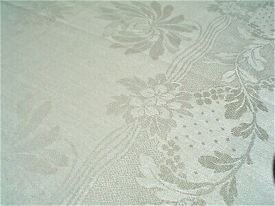 Vintage Beautiful Pure Linen New w/Labels Damask Tablecloth&Napkins Hemstitched