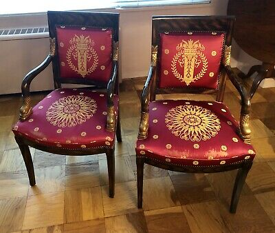 Pair Of Silk Upholstered Gilded French Empire Style Chairs