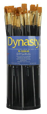Dynasty B-1650 Art Education Bright Paint Brushes, Classroom Cylinder, Set of 60