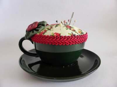 Cute Cup & Saucer Pin Cushion, Sewing Supplies, Sewing Room Decor