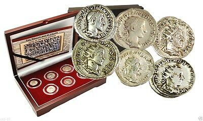 Roman Age of Chaos: Crisis of Third Century Six Silver Coins With Beautiful Box