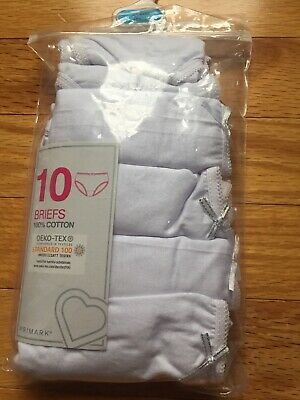 Girls Briefs Knickers Pack Of 10 100% Cotton White Primark Undies  3-4 Years