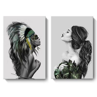 Nordic Modern Abstract Inkjet Canvas Painting Indian Woman Decor Poster Hom B9U5