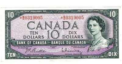 1954 $10 BANK OF CANADA Replacement Prefix *B/D