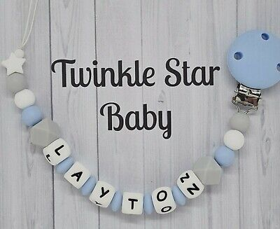 100% Full Silicone Personalised Dummy Clip Baby Blue Grey White Christening Gift