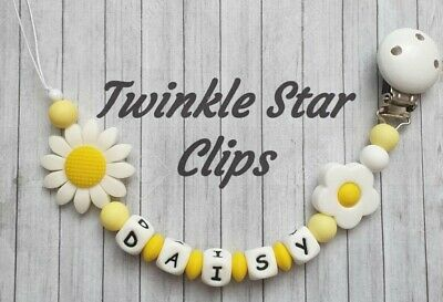 Full Silicone Range Personalised Dummy Clip Baby Daisy Flower Girl Mothercare
