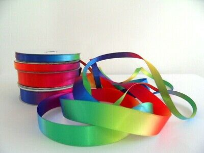 Satin Bright Rainbow Ribbon sold by the metre & Free Postage