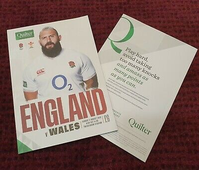 ENGLAND vs Wales QUILTER 2019 Rugby Union Programme 11/08/19!