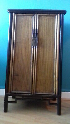 Rare Chinese antique HUANGHUALI tapered sloping-stile wood-hinged cabinet