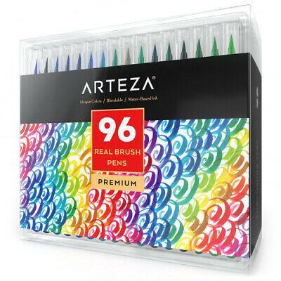 (96 Colors) - Arteza Real Brush Pens, 96 Paint Markers with Flexible Brush