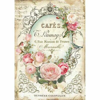 Rice Paper - Decoupage - Stamperia - 1 x A4 Size Sheet - Cafe Rose