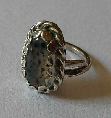 Old NAVAJO Silver Montana Agate RARE Ring SIGNED