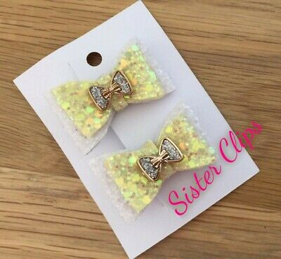 "Set of 2 double toddler 1.5"" bow hair clips lemon white bow embellishment"