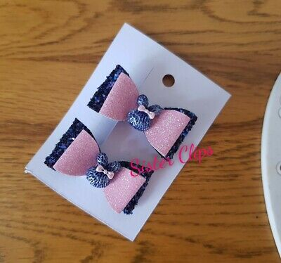 "Set of 2 double toddler 1.5"" bow hair clips navy blue & pink bunny"