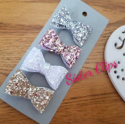 Girls Handmade 4 baby/toddler small glitzy Glitter Hair Bow clips