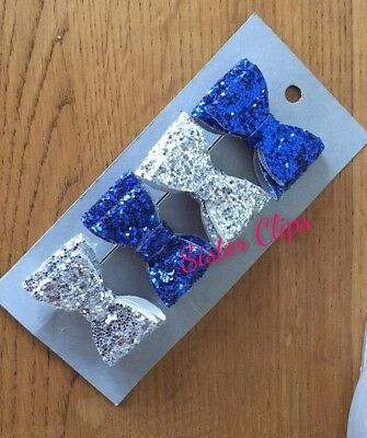 Girls Handmade 4 baby/toddler small royal blue & silver Glitter Hair Bow clips