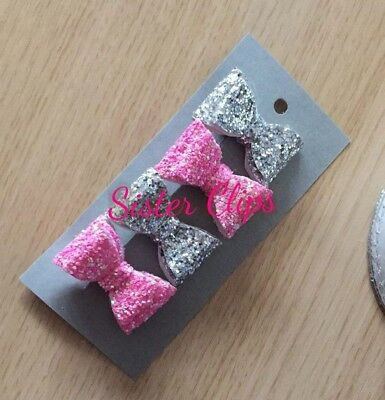 Girls Handmade 4 baby/toddler bright pink and silver Glitter Hair Bow clips