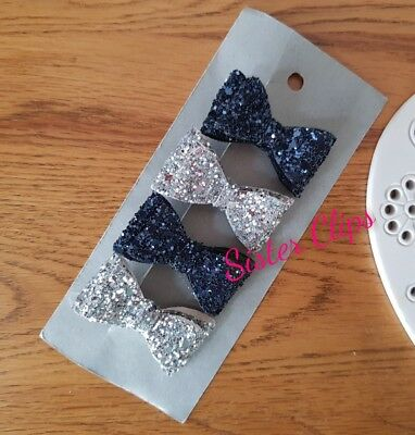 Girls Handmade 4 baby/toddler navy blue and silver  Glitter Hair Bow clips