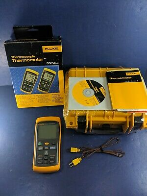New Fluke 54 II Thermocouple Thermometer, Original Box, Hard Case, More