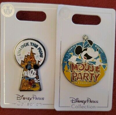 Disney Parks Mickey's 90th Birthday Mouse Party 2 Pin Set