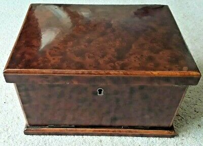 ANTIQUE BOX SUPERB BURR WALNUT CHARMING SMALL SIZE CANTELVER DRAWERS C19th Cent'