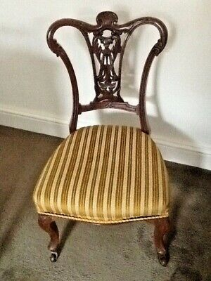 PAIR of Lovely Victorian Mahogany Carved Fireside / Nursing Chairs, Castors.