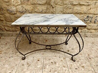 French Vintage Cast Iron Marble Table