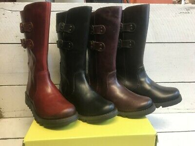 Ladies Fly London Suli Leather Mid Calf Zip Up Boots
