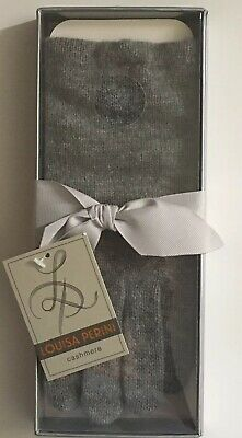 New in Box Louisa Perini 100% Cashmere Wool Gray Gloves with Gift Tag One Size