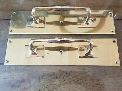 """Handsome Pair Of Vintage Solid Brass Door Pull Handles With Finger Plates, 12"""""""