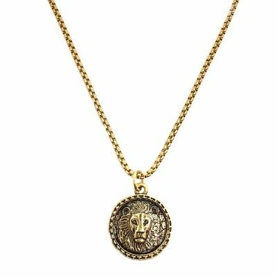 "Silver Gold Lion Coin on 20""/24"" Medieval Look Chain, Men Women Unisex Necklace"