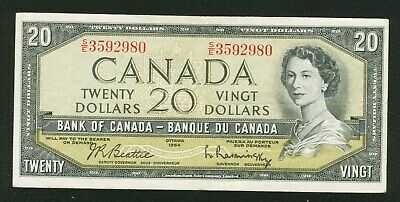 1954 $ 20 Dollars Bank note Bank of Canada  Beattie-Rasminsky prefix S/E