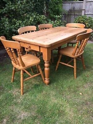 Solid Pine 5Ft Farmhouse Dining Table And Chairs