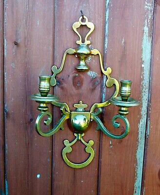 Vintage Solid Brass Scandinavian Wall Sconce Candle Holder 35.5cm High