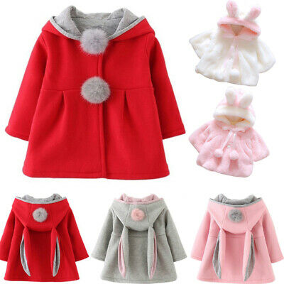 Toddler Girl Bunny Ear Hoodie Coat Winter Warm Hooded Jacket Outwear Snowsuit
