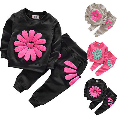 Toddler Girl Tracksuit Clothes Set Kids Outfits Sweatshirt T-shirt Tops Pants