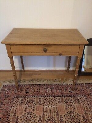 Antique Pine Bobbin Leg Table/Desk