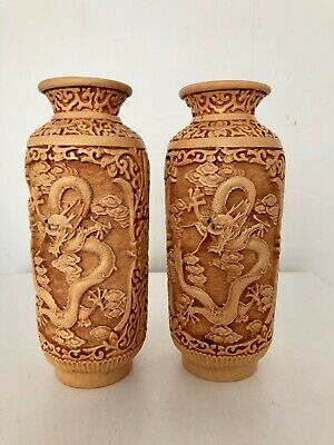 Vintage Pair of Chinese Dragon Vase Made from Heavy Resin