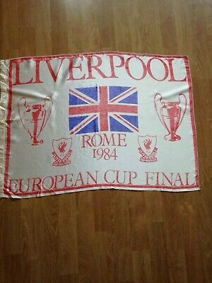 "Original Liverpool Fc Rome Vintage 1984 European Cup  Silk Effect Flag 32"" X 22"""