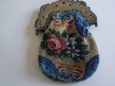 Rare Beautiful Antique Beaded Case Beadwork Embroidery Lady's Silver Purse