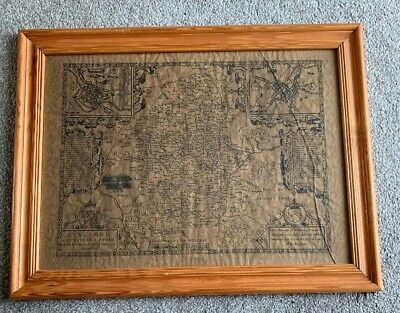 John Speed - Staffordshire 1610 Map (Reproduction Circa 1995) FRAMED
