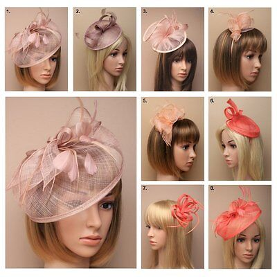 Fascinator Hatinator Nude Coral Mocha Headband Clip Wedding Party New