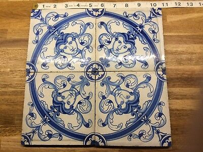4 Antique Hand Painted Dutch Delft Neo Classical Style Wall Tiles