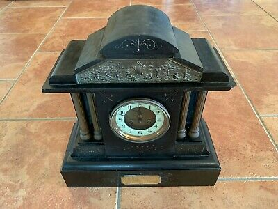 Black Slate Mantle Clock With Plaque Dated 1901