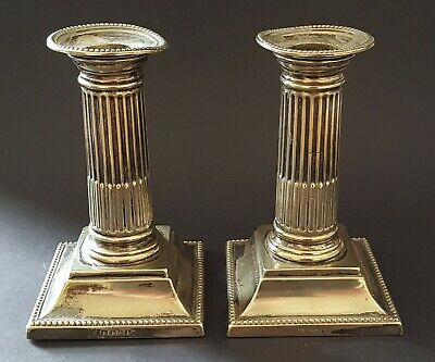 Silver plate electroplate vintage Victorian antique pair of column candlesticks