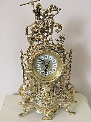 Beautiful Solid Brass French Rococo Style Reproduction Mantel Clock Quartz