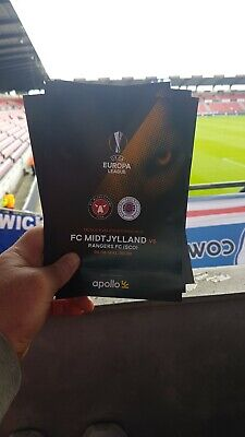Midtjylland v Rangers official programme 08/08/2019 + ticket and team sheet
